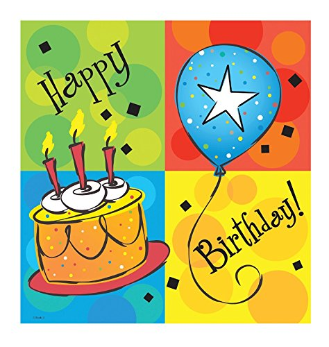 "Creative Converting 728123 Cake Celebrations Border Print Plastic Tablecover, 54 by 108"", Green/Blue/Red/Yellow"