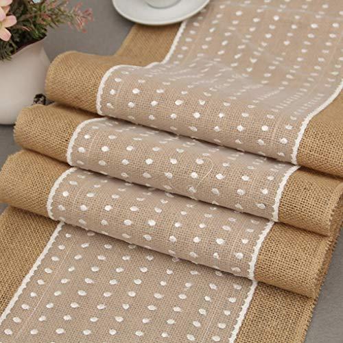 Roll Table Runner - European Style White Dot Lace Linen Table Cloth Burlap Hessian Runner S - Rustic Room Tropical Clean Mats Slip Cream Tassels Olive Embroidery Khaki Modern Vine Oval Cloth Min ()