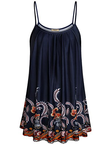Miusey Camisole for Women Vintage Floral Printed Clothing XL Tunic Shirts Comfy Casual Office Spaghetti Strap Stretchy Pleat Neckline Cami Tank Top Blue (Ruched Shirt Top)