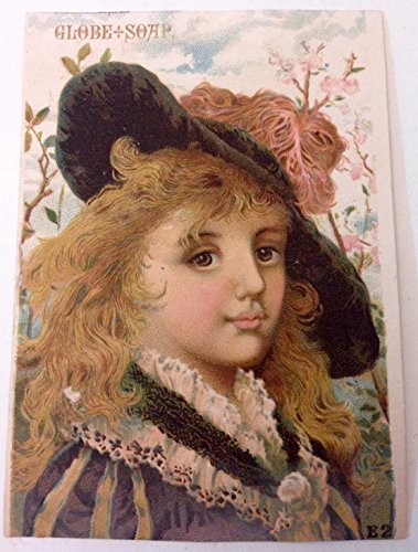 Original Antique Victorian Trade Card Globe Soap Girl In Feather Hat (Card Trade Victorian Soap)