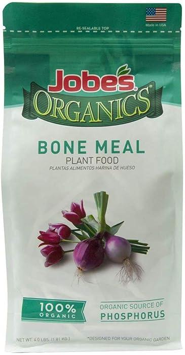 Jobe's Organics Bone Meal Fertilizer 2-14-0 Organic Phosphorus Fertilizer for Vegetables, Tubers, Flowers and Bulbs, 4 Pound Bag, New Version