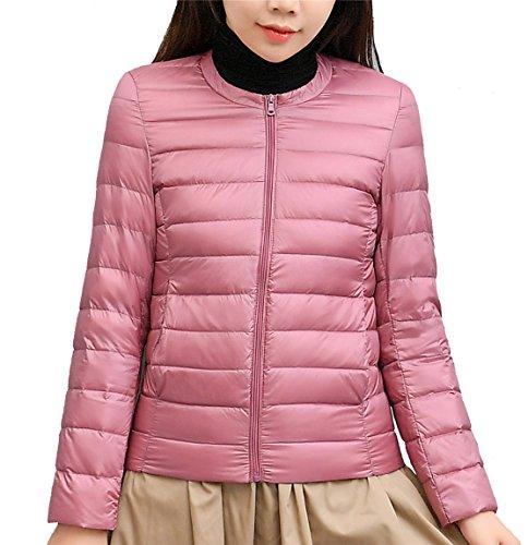 Femme Manche Pink Col Doudoune Rond d'hiver Blouson Longue Quibine Ultra Lger 15xOnq