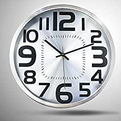 Hippih Silent Wall Clock Metal 12 Inches Non Ticking Digital Quiet Sweep Decorative Modern Round Wall Clock for Decor (Silver)