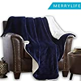 MERRYLIFE Decorative Sherpa Throw Blanket Ultra-Plush Comfort | Soft, Colorful | Home, Couch, Outdoor, Travel Use (60'' 70'', Navy)