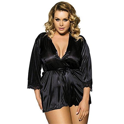 (Hever Women's Sexy Lingerie Plus Size Kimono Robe and Padded Hanger Black)