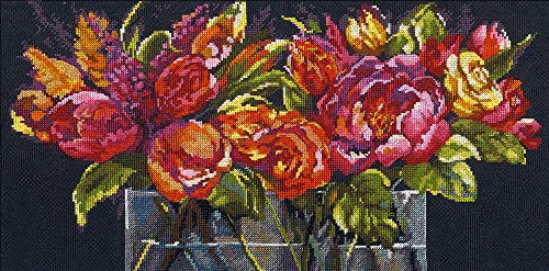 Dimensions 'Flowers of Joy' Counted Cross Stitch Kit Gold Collection, 14 Count Black Aida Cloth, 18'' x 9'' (14k Collection Waterfall)