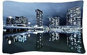 Microfiber Peach Queen Size Decorative PillowCase -City city night