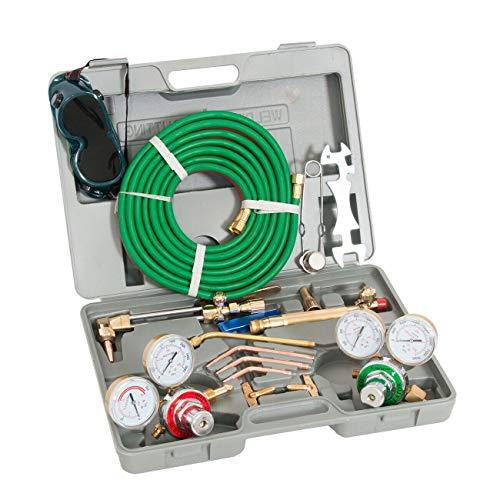 (Mandycng Amateur Metalworker Seasoned Professional Oxygen Acetylene Welding Cutting Torch Kit Harris Type W/Goggles Tips Burner HD Garage Tool CNC Operator Tool)