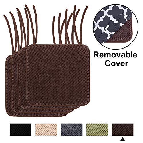 """Kitchen Memory Foam Chair Cushion - Homing Honeycomb Non Slip Dining Soft Seat Pads with Ties and Removable Pattern Cover, 16""""x16"""" 4 Pack Brown"""