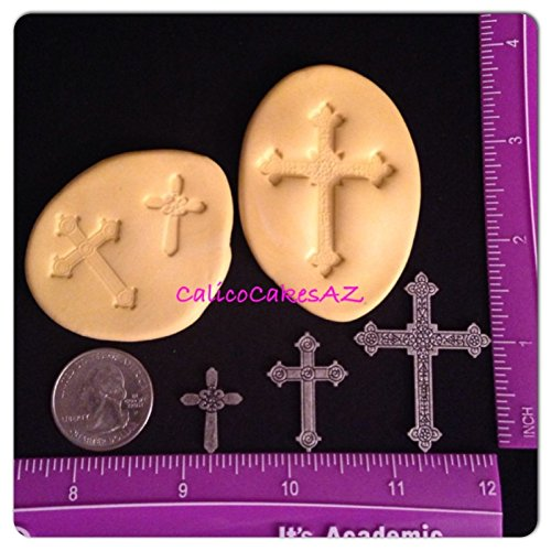 Set of 3 CROSS Fondant Molds Chocolate Candy Gumpaste Isomalt Soap Resin Clay