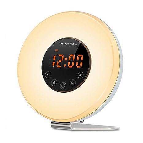 URXTRAL Wake Up Luz Sunrise Simulación Despertador Función Snooze para despertar UP lámpara de noche Luz de noche con la simulación de puesta del sol ...