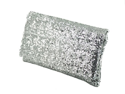 Sequin Party Womens Shoulder Clutch Silver Sparkly Bag Evening Loni wOUExFaqE