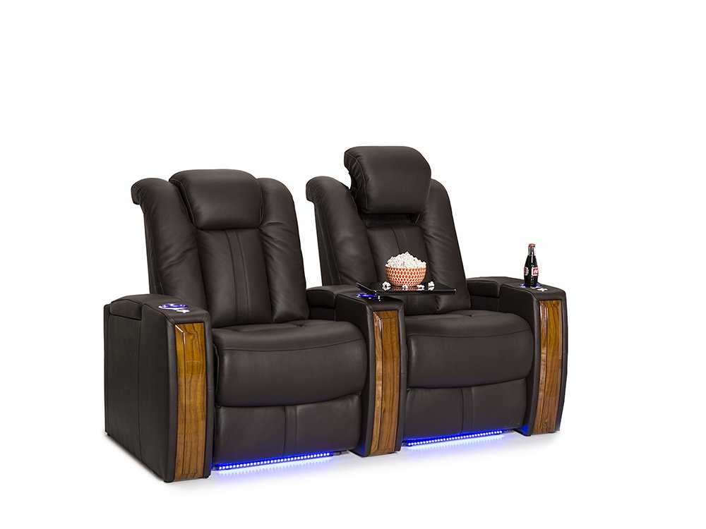 Seatcraft Monaco Leather Home Theater Seating Power Recline with Adjustable Powered Headrests and Built-In SoundShaker (Row of 2, Brown)
