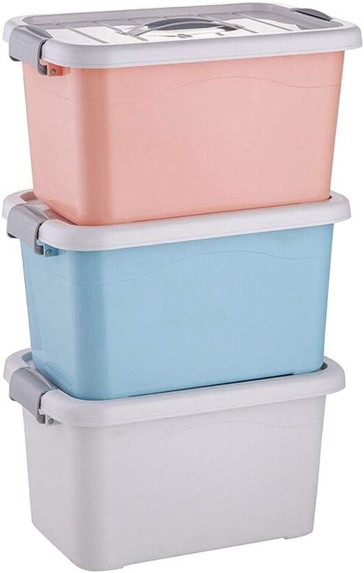 xy Cajas almacenaje plastico Caja de Almacenamiento Caja de Almacenamiento de Ropa de plástico de Color Mixto (40L - 3 Juegos) Cajas almacenaje: Amazon.es: Hogar