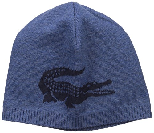 Lacoste Men's Big Crocodile Jacquard Reversible Wool Beanie, Anchor Chine/Blue Pigment Chine, One (Reversible Wool Beanie)