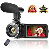: Camcorder Digital Video Camera Full HD 1080P 30FPS Vlogging Camera with External Microphone and Remote Control