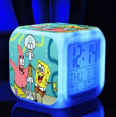 SpongeBob SquarePant Patrick Star Digital Alarm Desktop Clock with 7 Changing LED Clock Colorful Toys for Kids (Style 4)