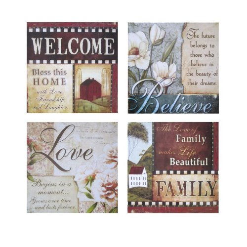 Urbanest Inspirational Framed Wall Plaque Decor, Set Of 4 (Love U0026 Family)