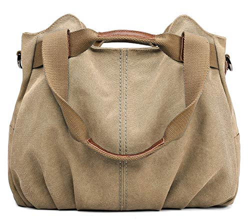 (Z-joyee Women's Ladies Casual Vintage Hobo Canvas Daily Purse Top Handle Shoulder Tote Shopper Handbag Satchel Bag, Khaki)