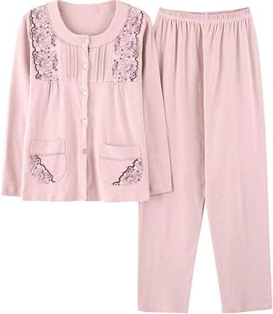 Pijamas De Mujer Otoño Algodón Manga Larga Cómodo Ropa Traje Suave ...