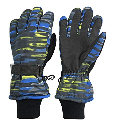 (N'Ice Caps Kids Cold Weather Waterproof Camo Print Thinsulate Ski Gloves (Neon Laser Stripe, 8-10 Years))