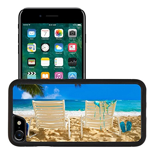 Liili Apple iPhone 7 iPhone 8 Aluminum Backplate Bumper Snap iphone7/8 Case Two white beach chairs under palm leaves by the ocean with bikini and flip Photo ()
