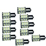 HQRP 10-Pack BA15s Bayonet Base 30 LEDs SMD 3528 LED Bulb Warm White for #1141#1156 Lance Travel Trailer Interior Light Replacement + HQRP UV Meter