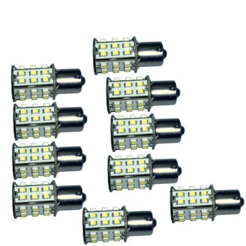 HQRP 10-Pack BA15s Bayonet Base 30 LEDs SMD 3528 LED Bulb Warm White for #1141 #1156 Lance Travel Trailer Interior Light Replacement + HQRP UV Meter by HQRP