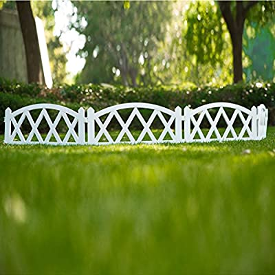 Sungmor 94.5 Inches Length Garden Plastic Rail Fence White Pickets,Indoor Outdoor Lawn Patio Protective Guard Edging Decor