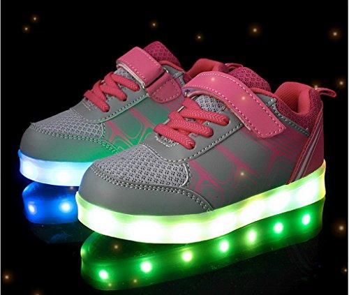 ACME LED Schuhe Sportschuhe Sneaker Turnschuhe mit USB Aufladen 7 Farben Für Kinder Jungen Mädchen Heiß Rosa