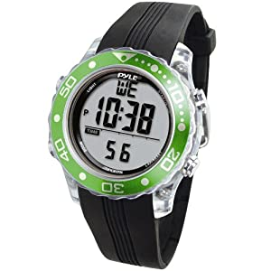 Digital Multifunction Sports Wrist Watch – Waterproof Smart Fit Classic Men Women Water Sport Swimming Fitness Gear Tracker w/ Chronograph, Countdown, Dual Time, Diving Mode – Pyle PSNKW30GN (Green)