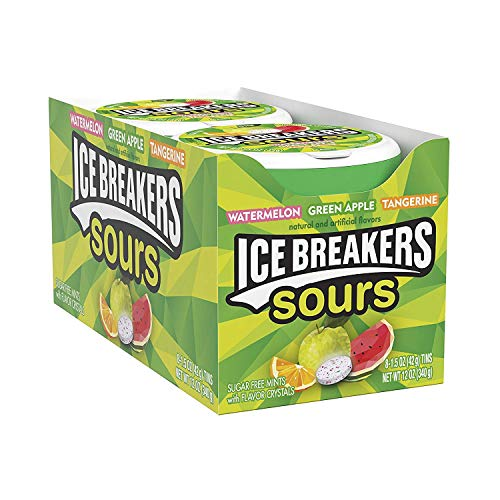 - ICE BREAKERS Sours Sugar Free Mints, (Watermelon, Green Apple, Tangerine) 1.5 Ounce (Pack of 8)