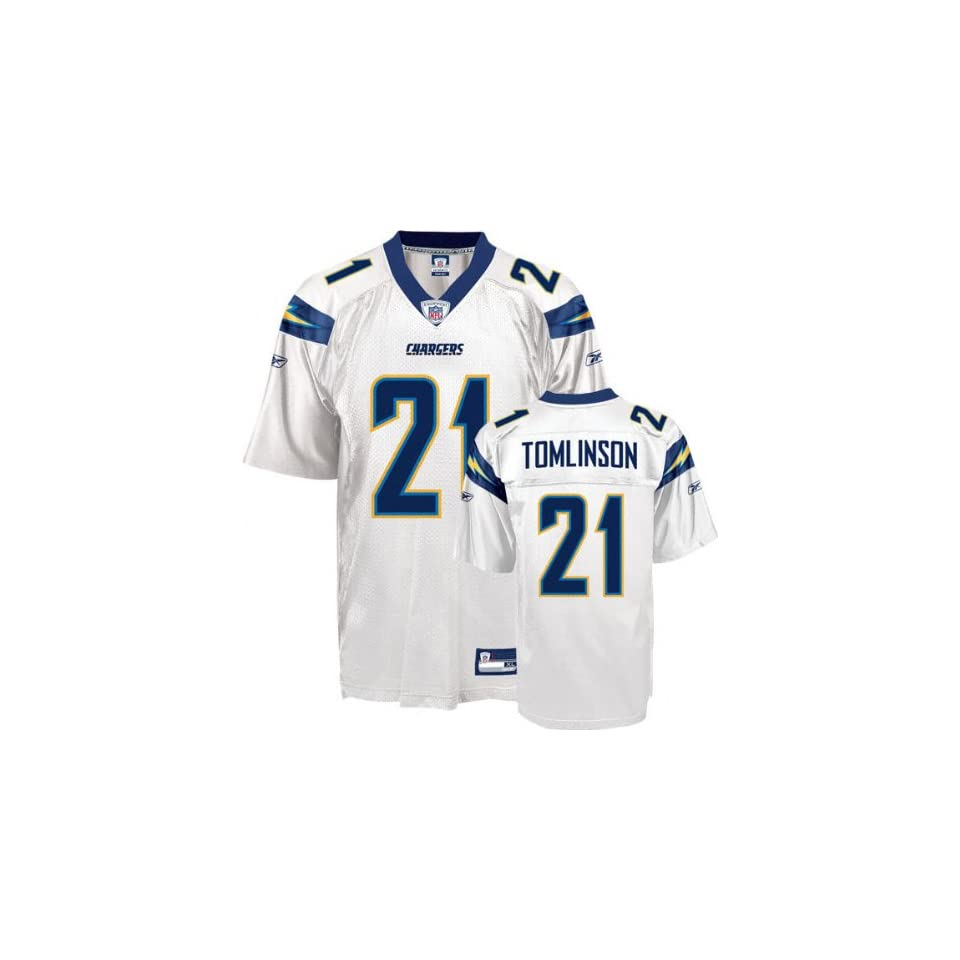 LaDainian Tomlinson #21 San Diego Chargers Replica NFL Jersey White Size 48 (Med)