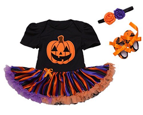 Beide Baby Girls Halloween Outfits Tutu Pumpkin Print Romper Headband Leg Warmer Shoes (color1,3-6m)