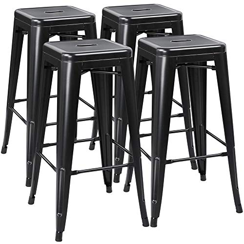 Yaheetech 30 Inches Metal Stools Barstools Set of 4 High Backless Stool Chairs Bar Height Stools Patio Furniture Indoor Outdoor Stackable Kitchen Stools Dining Chair, Black (Bar Stackable Stool)