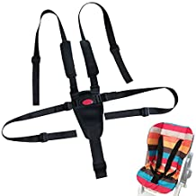 Bestgle Baby 5 Point Adjustable Harness Kids Safe Seat Belts Strap for Child Stroller High Chair with Shoulder Pads & Guarding Pad