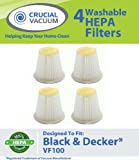 4 Black and Decker VF100, VF100H DustBuster Replacement Filters – WASHABLE and REUSABLE – Recommended only for Cyclonic Action DustBusters CHV1400, CHV1500, CHV1560, CHV1600; Designed and Engineered by Crucial Vacuum, Appliances for Home