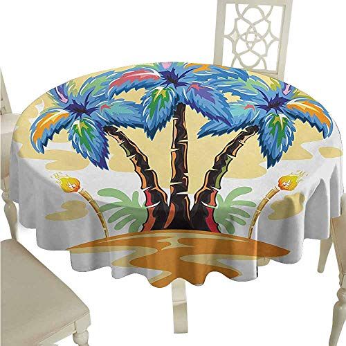 (duommhome Palm Tree Waterproof Tablecloth Colorful Cartoon Tropical Island with Hawaiian Palm Trees Torch Seagulls Sunset Easy Care D43 Blue Orange)