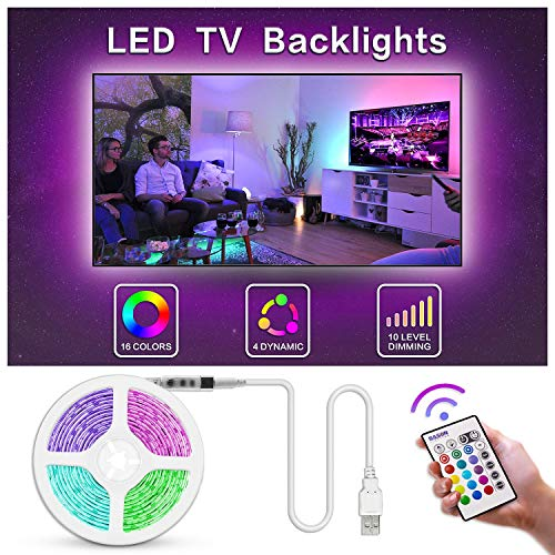 Bason TV LED Backlight, 13.09ft USB Led Lights Strip for TV/Monitor Backlight, Led Strip Light with Remote, TV Bias Lighting for Room Home Movie Decor.(60-70inch) ... (Tv Decor Above)