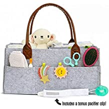 Robin's Nest Baby Diaper Caddy w/Pacifier Clip | Nursery Changing Table Storage Bin | Portable Car Organizer for Diapers & Baby Wipes | Baby Shower Gift for Boy or Girl | Newborn Registry Must Haves