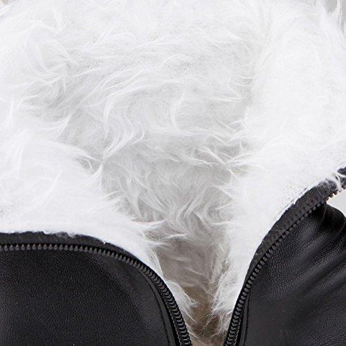 lovely Carolbar Women's Pom-poms Zipper Fashion Warm Winter Platform Hidden Wedge Heel Snow Boots