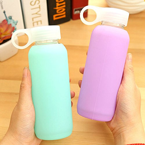 Creative Candy Silicone Case Anti-Hot Glass Glass Student Student Lovely Jelly Cup Portable Hand Cup Random Color 300ml