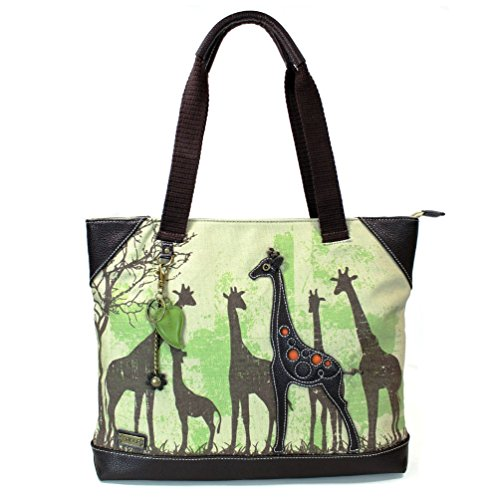 Forest Canvas Giraffe Large Tote Handbags Safari Black 912 Collection Chala Bear H1qvw5nFn