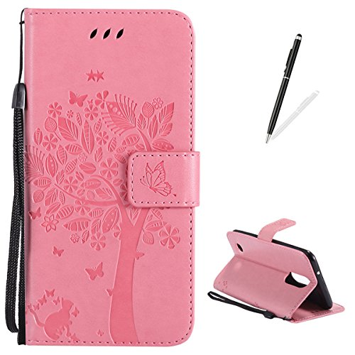 LG K8 2017 Wallet Case,KaseHom [Free 2 in 1 Stylus Pen] Embossed Tree Cute Cat Butterfly Pattern Flip Magnetic Leather Holster with [Hidden Pocket Card Slots] Full Protective Cover - Pink -