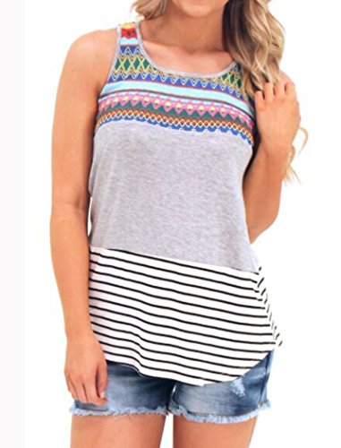 f34efd3f4f144e Halife Striped Color Block Tunic Tops for Women Sleeveless Long Shirts Gray  M
