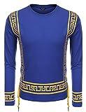 Coofandy Mens Hipster Hip Hop African Dashiki Printed Long Sleeve Top Tee T Shirts Blue XXL