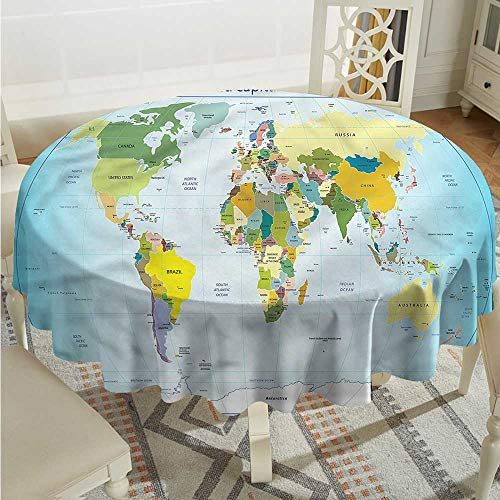 Tim1Beve World Map Resistant Table Cover Countries with Cities Party Decorations Table Cover Cloth D60 INCH for $<!--$36.48-->