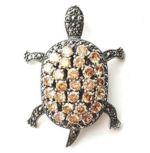 Turtle Pendant Champagne Citrine Stones Marcasite .925 Sterling Silver ВК-195 ()