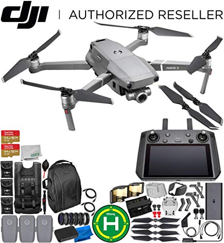 DJI Mavic 2 Zoom Drone Quadcopter with 24-48mm Optical Zoom Camera with Smart Controller Ultimate 3-Battery Bundle