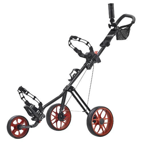 Golf Push Pull Carts - CaddyTek SuperLite Deluxe Golf Push Cart, Black/Orange